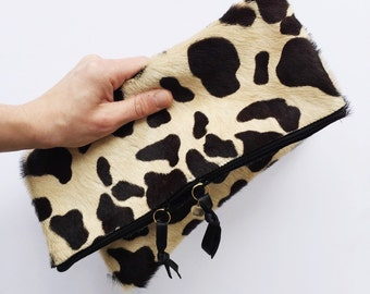 Spotted hair on hide fold down Clutch - leather clutch, leopard clutch, cheetah clutch, calf hair clutch, animal print