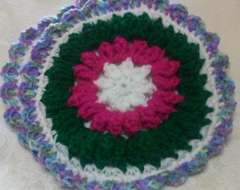 Crochet Round Multi-Color Potholders