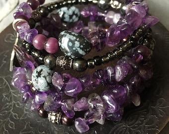 Embrace Your Beautiful Adventure: five wrap memory wire beaded bracelet