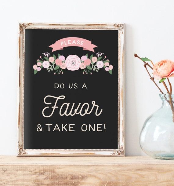 Rustic Wedding Favors Sign Printable Do Us A Favor And Take