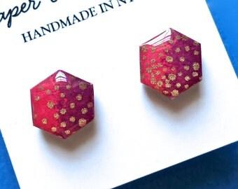 Pink Earrings, Pink Stud Earrings, Pink Studs, Hexagon Earrrings, Geometric Earrings, Hexagon studs, Japanese paper earrings, hypoallergenic