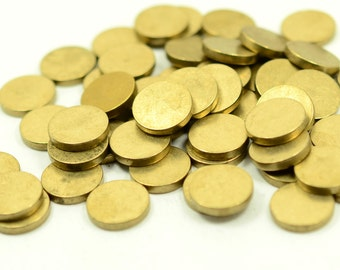 "10 pcs. 12 mm  (15/32"" ) Raw Brass 12 gauge  (2 mm thick ) Solid Brass Stamping Blanks"