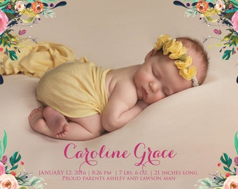 Boho Floral Watercolor Birth Announcement  Printable Invitation