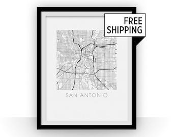 San Antonio Map Print