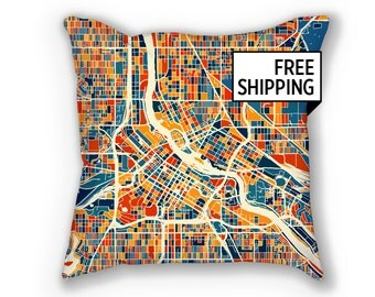 Minneapolis Map Pillow - Minnesota Map Pillow 18x18