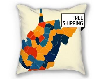 West Virginia Map Pillow - WV Map Pillow 18x18