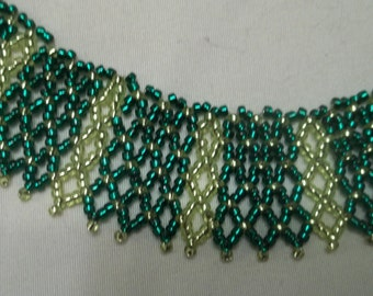 Green and chartreuse Beaded collar necklace