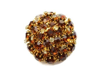 Signed Made In Austria Topaz and Clear Rhinestones Domed Brooch