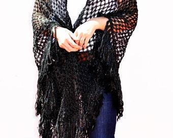 cape au crochet ,black shawl and large silver handmade