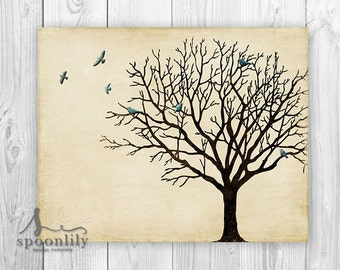 Tree Wall Art, Winter Tree Silhouette, Vintage Inspired Tree Decor, Bare Tree Art Print, Art Poster