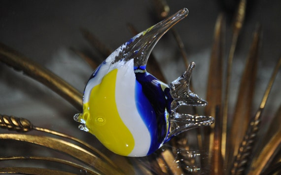 Vintage murano like blown glass fish for Blown glass fish