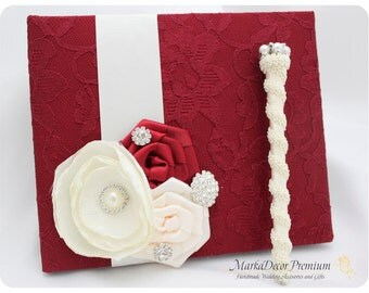 Wedding Lace Guest Book Pen Set Custom Bridal Flower Brooch Guest Books in Red Brick and Ivory