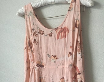 vintage peach floral flowy dress