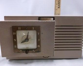 Tube Radio Telechron Musalarm Clock Radio Atomic Era Space Age Vintage  8H67 Superheterodyne Works Good!.epsteam