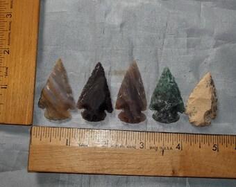 "Set of (5) 1-1/2"" Agate Arrowheads - Bulk Lot - ""NEW"""
