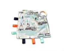 Baby Comforter Taggie with Wooden Teething Ring, Teepee