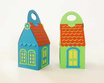 house box paper cut with red roof - 2.4x2.4x4inch custom color ready made