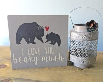 I Love You Beary Much - Wood Sign - Sign with Birds - Home Decor - Laurel Wreath - Gallery Wall