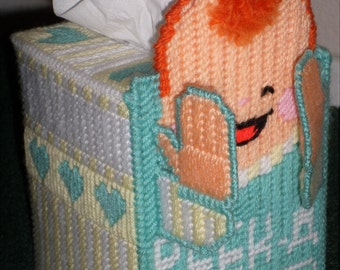 """Plastic Canvas Tissue Box Cover  - Baby""""s Peek A Boo Tissue Box Cover - Sweet Tissue Box Cover For Baby""""s Room Or Bathroom - Baby Gifts"""