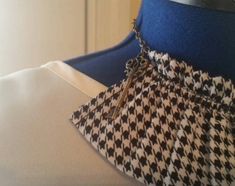 fabric necklace key necklace houndstooth fabric necklace ruffle fabric necklace ruffled fabric necklace fabric necklace houndstooth necklace
