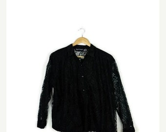 SUMMER SALE Vintage Black Lace Long Sleeve Blouse  from 80's/Minimal Blouse*