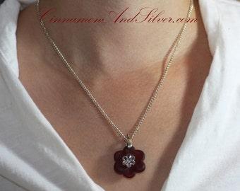 Red Opaque Sea Glass Flower Pendant, Romantic Red Glass Flower Necklace, Red Glass Flower Pendant Gift, Recycled Glass Flower Pendant