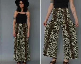1970s high waisted leopard print wide leg palazzo pants - size 30