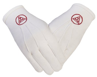 Royal Arch Masonic Symbol in Cotton Gloves