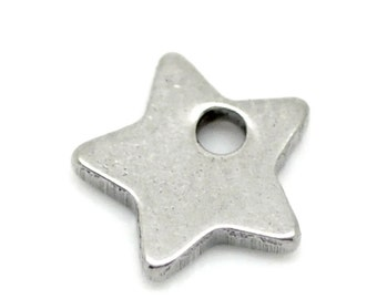 Charms, silver stainless steel star 6 mm