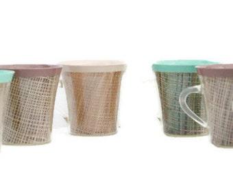 Vintage Rattan Cups Set of 6 ~ Picnic Set of Rattan Mugs~ Mint Green, Yellow, Mocha , and Tan Rattan Retro Cups