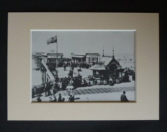 English Seaside Print of Blackpool, Available Framed, Beach Art, Victorian Picture, Old Photography Decor, Central Pier Gift, Promenade Art