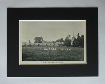 1909 Antique Print of the Joseph Banks' Almshouses, Available Framed, Revesby Art Lincolnshire Poorhouse Picture Working Class History Decor