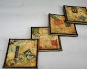 Nostalgic set of four decoupage vintage looking postage coasters 4 x 4