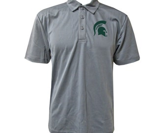 Michigan State Helmet Polo - Steel Grey