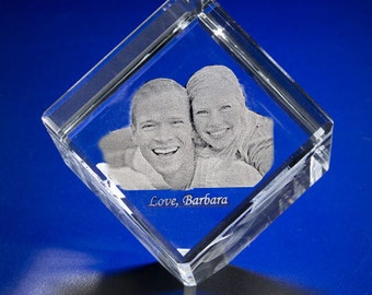 2D or 3D Crystal Cube, Custom Laser Engraving Glass, Etched Photo Cube by Goodcount **FREE SHIPPING** Goodcount 3D Laser Gifts,