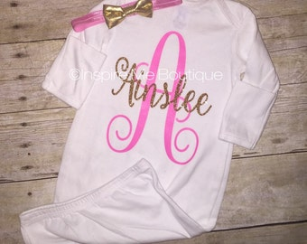 Personalized baby gown, new baby, baby gift set, baby shower, hospital gown, pink and gold, baby pink, newborn, baby girl, glitter