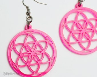 Pink Seed of Life Earrings - Flower of Life Earrings - Neon Pink Acrylic - Laser Cut