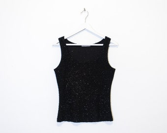 on sale - black sparkly tank top / fuzzy sleeveless top / size M / L