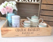 Large wooden wine box - Chateau Batailley - wine crate storage - *second* - rustic - vintage