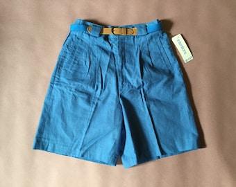 sky blue linen shorts | high waist pin tucked pin up linen shorts