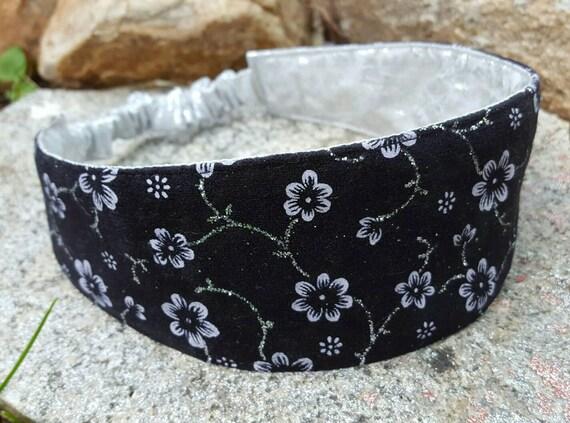 Black Suede Headband, Ladies Reversible  Headband, Silver Headband, Formal Headband, Black Floral Headband