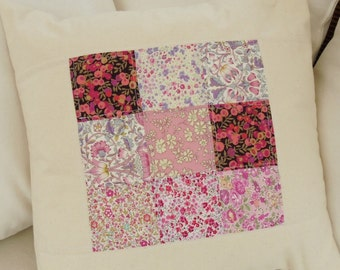 liberty print and calico floral patchwork cushion, decorative pillow, home decor