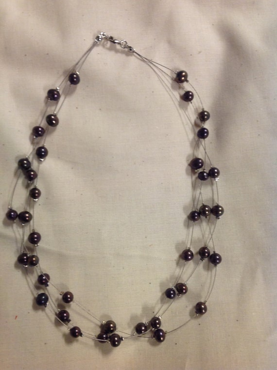 Black 3 String Of Black Fresh Water Pearls Necklace Perfect