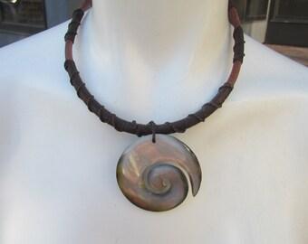 Bohemian Necklace Sea Shell Cord Wooden Bead Beach Hippie