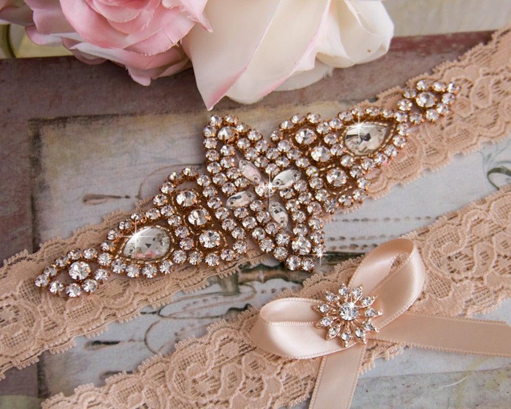 rose gold wedding garter set bridal garter set blush lace. Black Bedroom Furniture Sets. Home Design Ideas