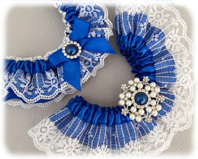 Royal Blue Wedding Garter Set Something Blue Bridal Garter