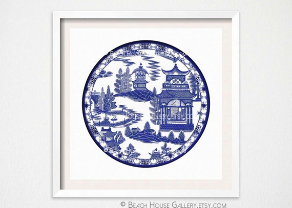 Chinoiserie Plate Art Print Asian Wall Blue And