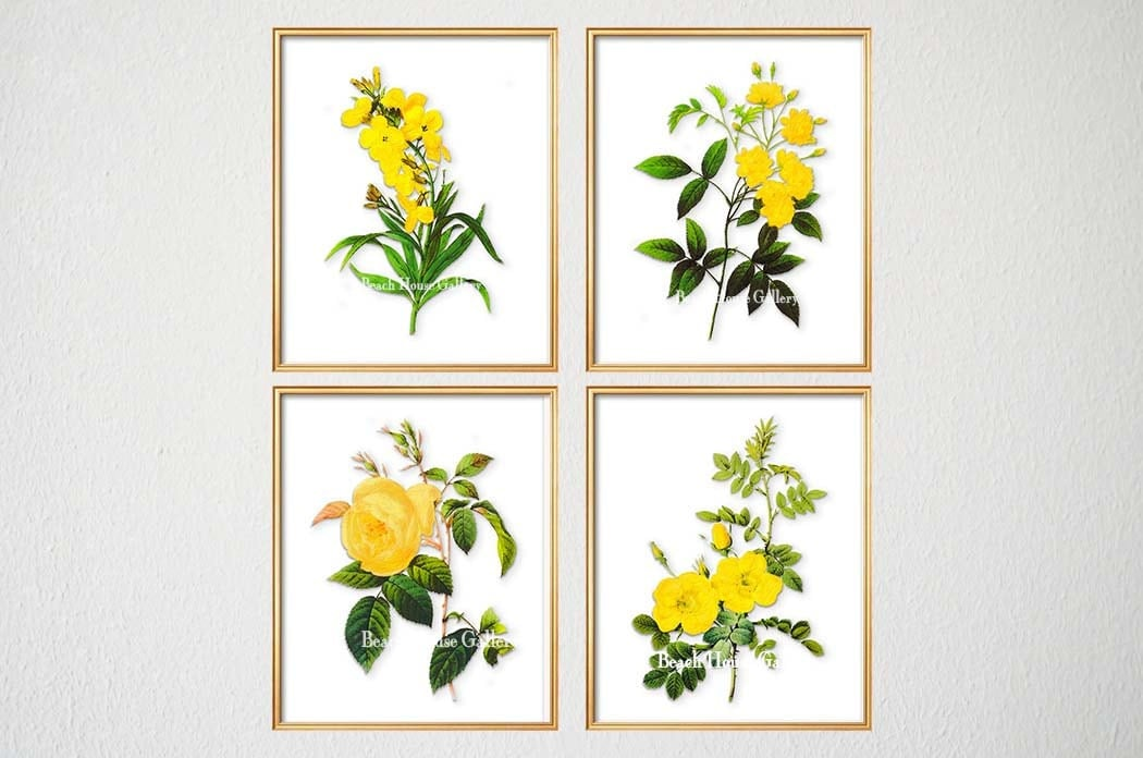 Yellow Flower Wall Art yellow botanical print set of 4 yellow floral prints yellow