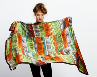 SALE: Multicolored neon silk scarf, luxurious huge designer scarf by Dikla Levsky, Black, Lime, Orange, Grey, Turqouise