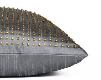 Decorative Throw Pillow, Grey Gold Silk Pillow Cover, Beaded Studs Pillows, Subtle Sparkling Pillows, Throw Cushion Cover, Gift, Gray Decor
